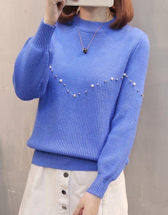 AL1811 : Áo len dệt kim cổ tròn đính hạt ngọc trai