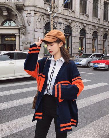 K1827 : Áo khoác len form rộng HQ phối sọc màu