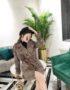 K1847 : Áo khoác dạ sọc kẻ Hàn Quốc thân ngắn thắt đai da eo