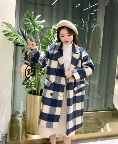 K1849 : Áo khoác dạ sọc kẻ to Hàn Quốc thân dài cổ vest