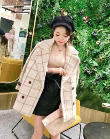 K1851 : Áo khoác dạ sọc kẻ lông nhung thân ngắn Hàn Quốc