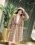 K1852 : Áo khoác dạ lông nhung sọc kẻ thân dài Hàn Quốc