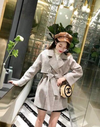 K1853 : Áo khoác dạ sọc kẻ thân ngắn Hàn Quốc thắt đai eo