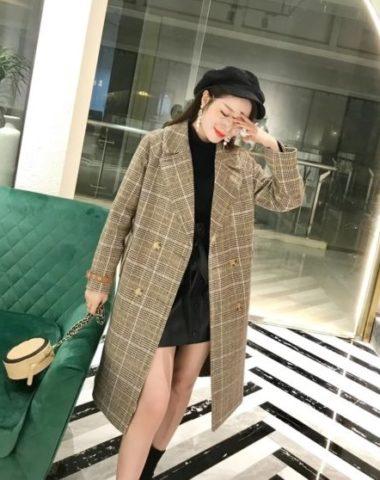 K1857 : Áo khoác dạ sọc kẻ thân dài cổ vest 2 túi Hàn Quốc