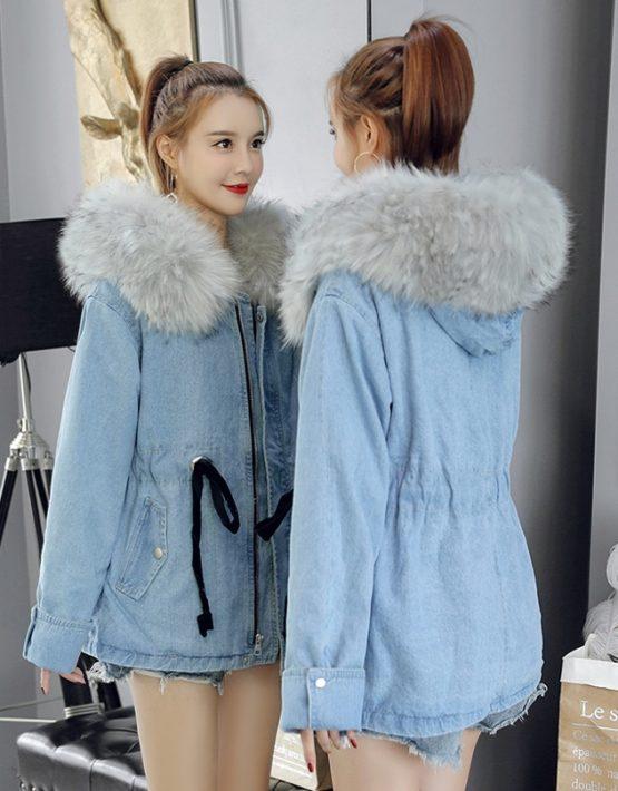 K1865 : Áo khoác Jean Hàn Quốc lót lông cổ mũ lông thú