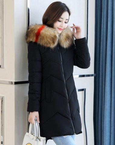 K1882 : Áo khoác phao bông tự nhiên 4 lớp thân dài mũ lông thú