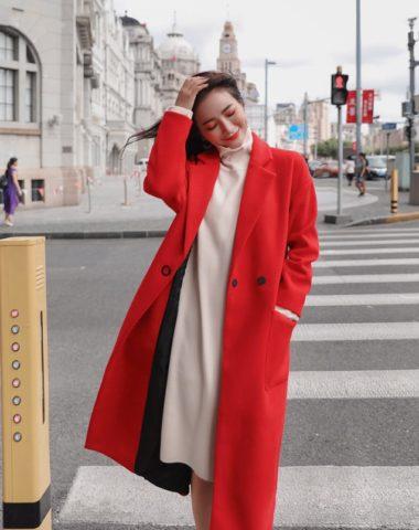 K1871 : Áo măng tô dạ mịn thân dài Hàn Quốc dạo phố