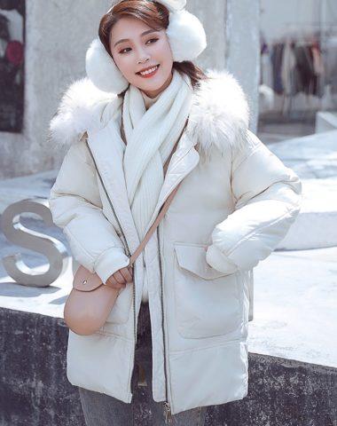 K1884 : Áo khoác phao bánh mì lông vũ 4 lớp mũ lông