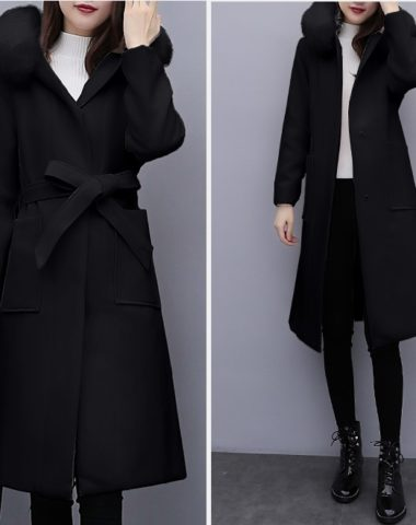 K1870 : Áo khoác dạ thân dài mũ lông sau thắt đai eo