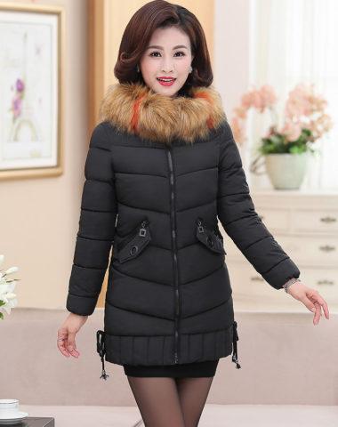 K1886 : Áo khoác phao trung niên thân dài 3 lớp mũ lông thú