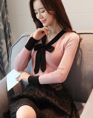 AL1824 : Áo len dệt kim cổ viền đen thắt nơ