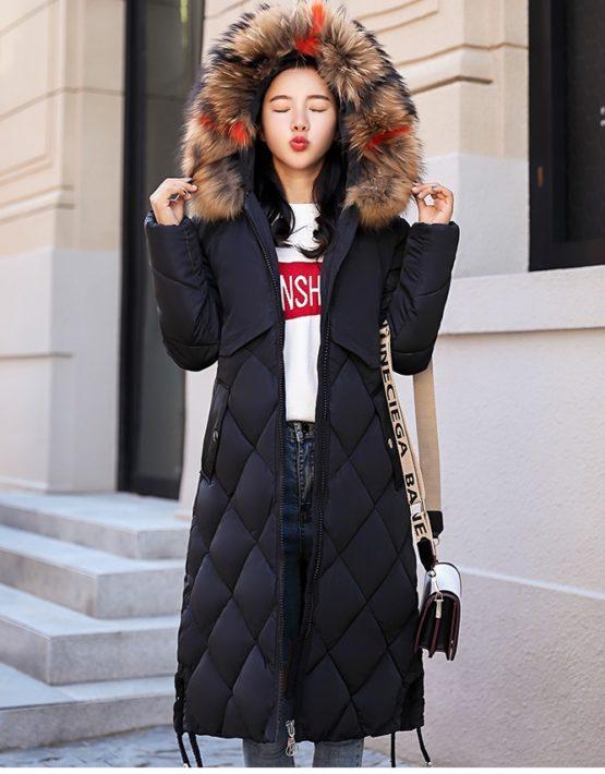 K1877 : Áo khoác phao thân dài bông tự nhiên mũ lông thú ấm áp