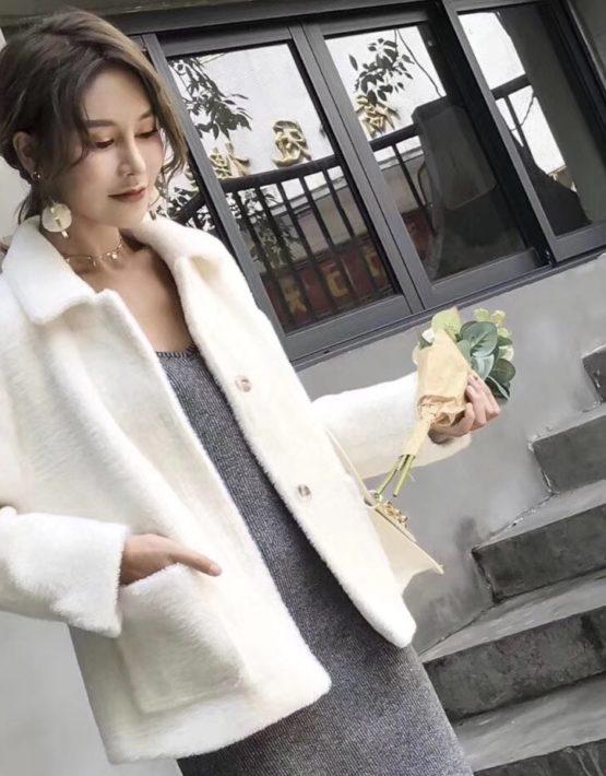 K1844 : Áo khoác lông thỏ cao cấp cổ bẻ cài nút 2 túi trước