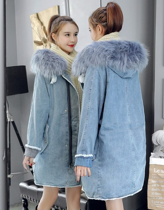 K1866 : Áo khoác Jean thân dài Hàn Quốc lót bông + lông cừu mũ lông thú