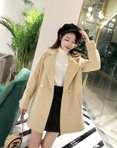 K1858 : Áo khoác dạ ráp thân ngắn cổ vest Hàn Quốc nút tròn