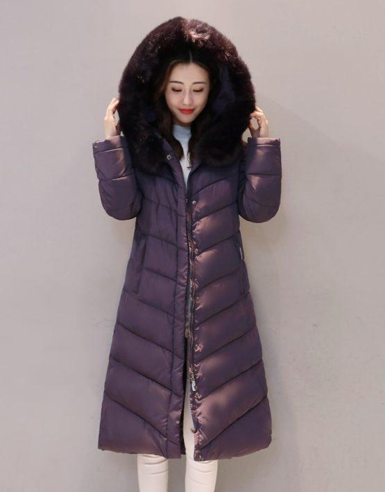 K1876 : Áo khoác phao lông vũ thân dài 4 lớp mũ lông thú cực ấm