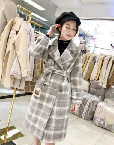 K1856 : Áo khoác dạ sọc kẻ thân dài cổ vest Hàn Quốc thắt đai eo