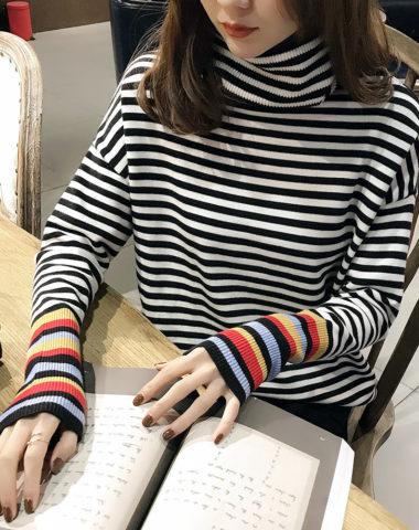 AL1836 : Áo len sọc kẻ cổ lọ phối cổ tay sọc màu