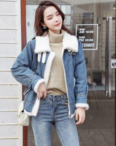 K1946 : Áo khoác Jean lót lông cừu cao cấp ấm áp 2020
