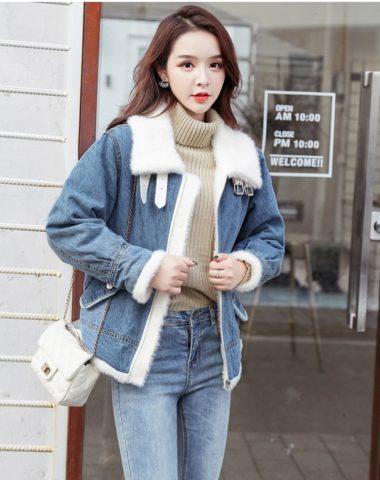 K1846 : Áo khoác Jean lót lông cừu cao cấp ấm áp