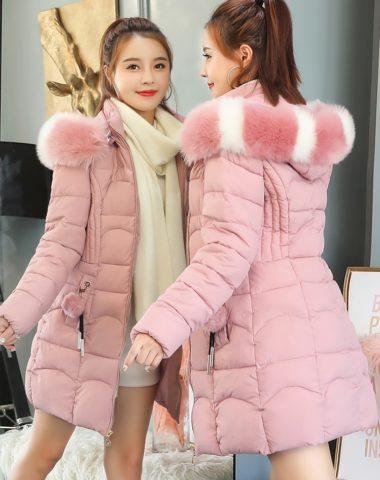 K1881 : Áo khoác phao bông tự nhiên 3 lớp thân dài mũ lông thỏ cực xinh