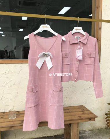 DL1828 : Set bộ đầm len dệt kim xòe HQ + Áo khoác ngoài (kèm nơ)