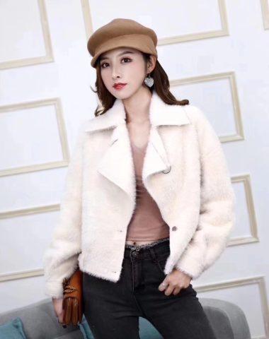 K1843 : Áo khoác lông thỏ ép cao cấp cổ vest dáng lửng