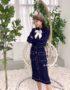 DL1829 : Set bộ đầm len dệt kim Hàn Quốc sọc trắng 2 túi (kèm nơ)