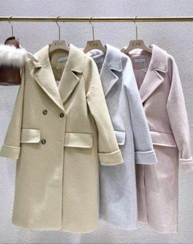 K1859 : Áo khoác dạ mịn thân dài cổ vest Hàn Quốc 2 túi