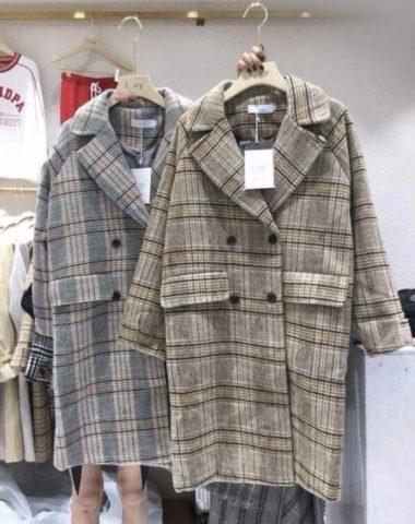 K1860 : Áo khoác dạ sọc kẻ thân dài cổ vest 2 túi giả Hàn Quốc