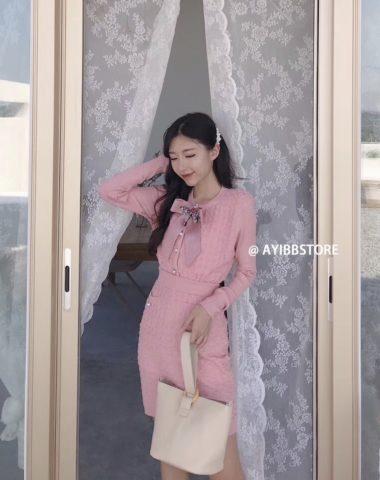 DL1830 : Set bộ đầm len dệt kim Hàn Quốc (kèm nơ)
