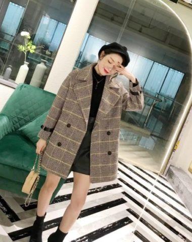K1848 : Áo khoác dạ sọc kẻ Hàn Quốc thân ngắn cổ vest