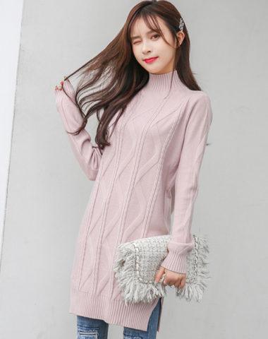 AL1856 : Áo len dệt kim thân dài xẻ cổ cao
