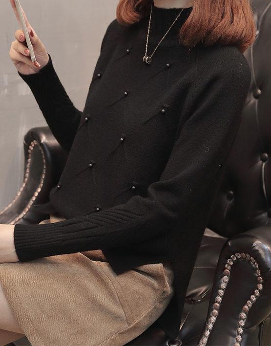 AL1845 : Áo len dệt kim cổ lọ cao đính hạt ngọc trai