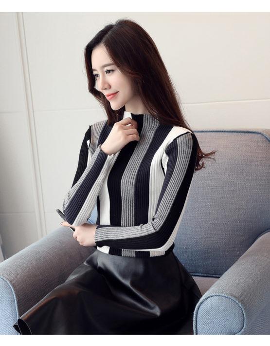 AL1849 : Áo len dệt kim sọc 3 màu cổ 3 phân HQ