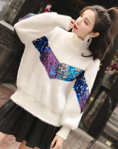 AL1841 : Áo len lông Hàn Quốc đính hạt màu dáng thụng