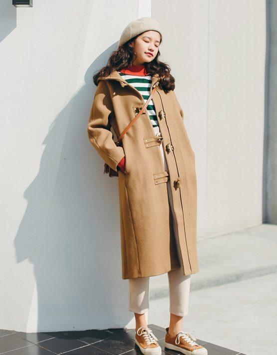 K18106 : Áo khoác dạ thân dài Hàn Quốc nút ngang có mũ sau