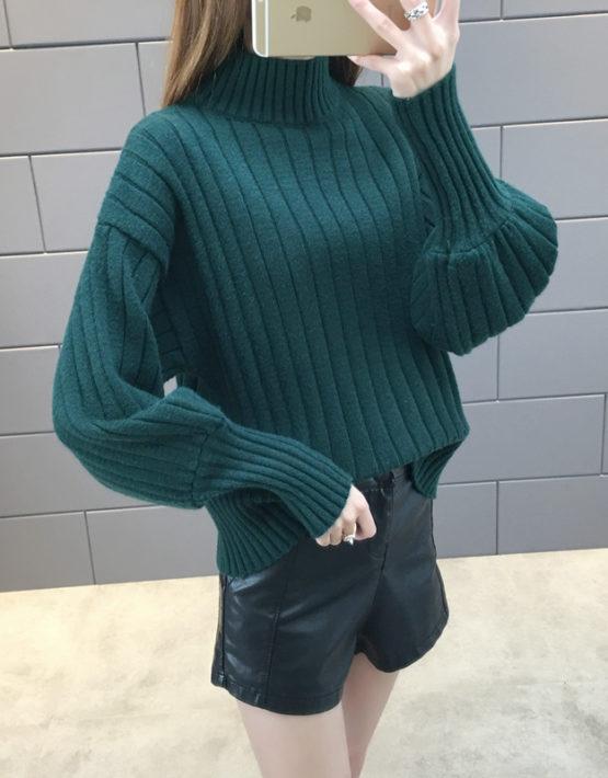 AL1840 : Áo len dệt kim sọc dọc tay đèn lồng bo ống