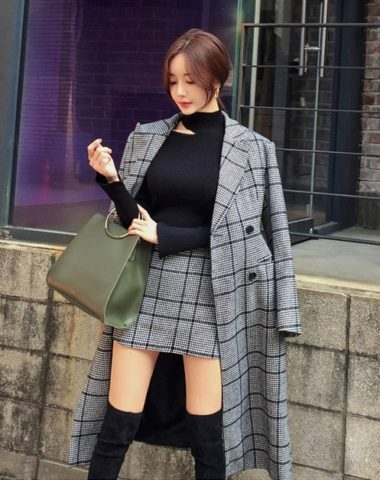 DL1841 : Set bộ chân váy dạ + áo khoác dạ choàng sọc kẻ dạo phố