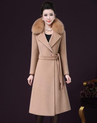 K1898 : Áo khoác dạ thân dài xòe cổ lông cáo cao cấp thắt eo