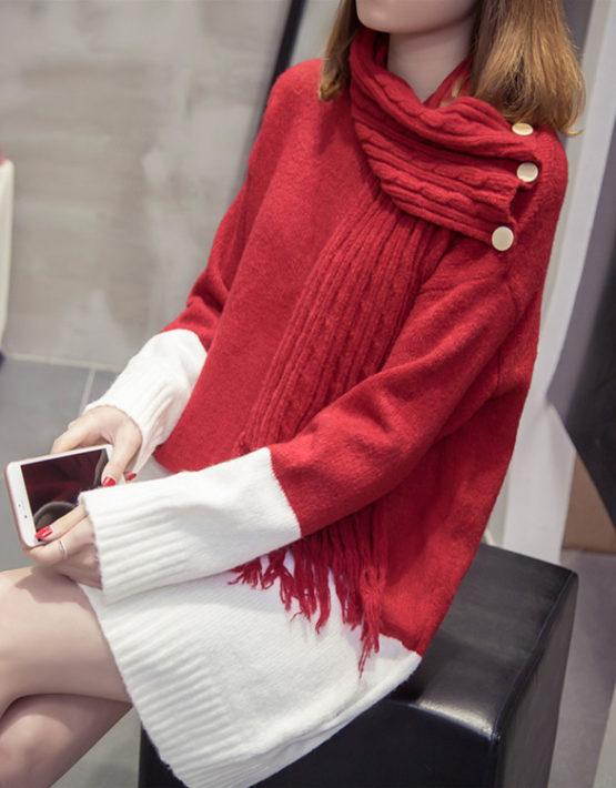 DL1833 : Đầm len suông dệt kim phối 2 màu cài khăn quàng