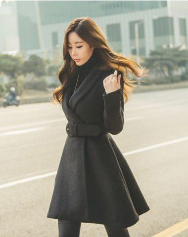 K1892 : Áo khoác dạ xòe cổ vest Hàn Quốc thắt đai eo