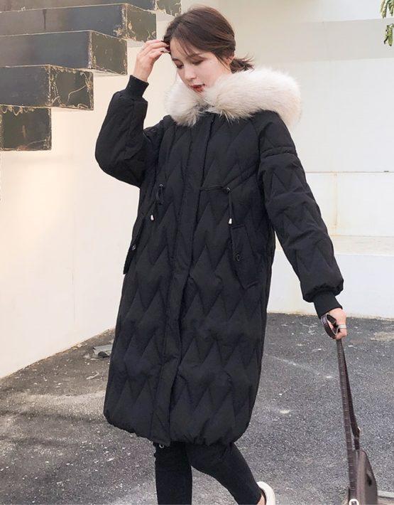 K18100 : Áo khoác phao bông tự nhiên 4 lớp mũ lông thú