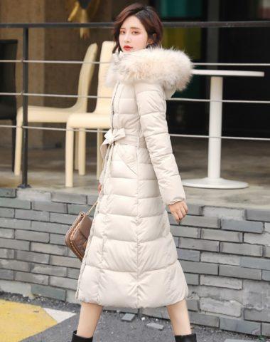 K18102 : Áo khoác phao thân dài Hàn Quốc mũ lông thú thắt đai eo