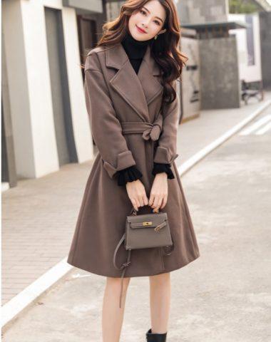 K1893 : Áo khoác dạ mịn cổ vest Hàn Quốc thắt đai eo hai túi