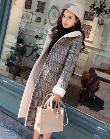 K1894 : Áo khoác dạ sọc kẻ lót lông nhung mịn có mũ sau cực ấm