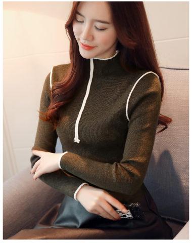 AL1848 : Áo len dệt kim cổ 3 phân phối viền vai và cổ