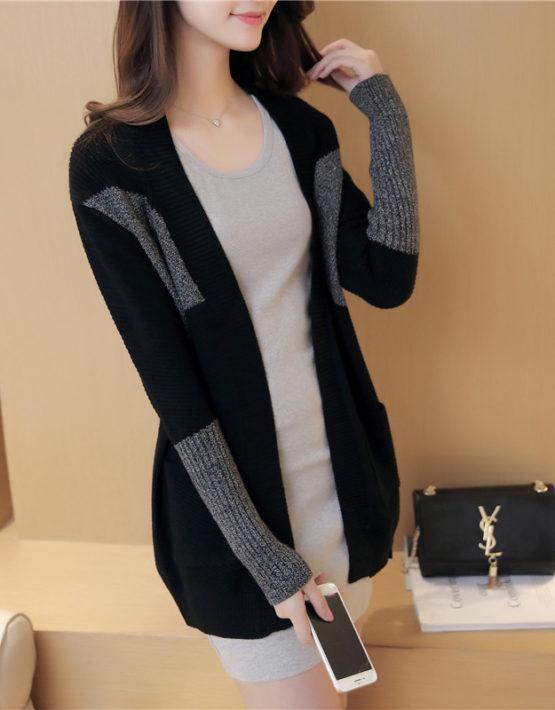 K1897 : Áo khoác len cardigan 2 túi phối màu cổ tay