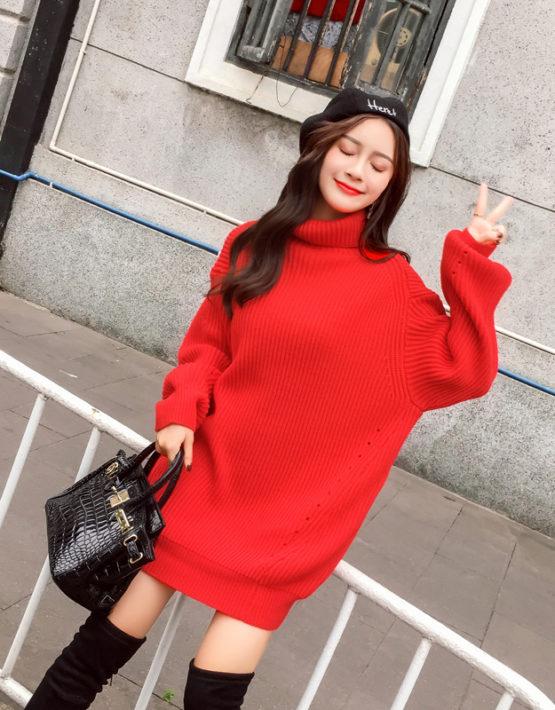 AL1855 : Áo len Hàn Quốc thân dài cổ lọ gập mẫu mới 2018