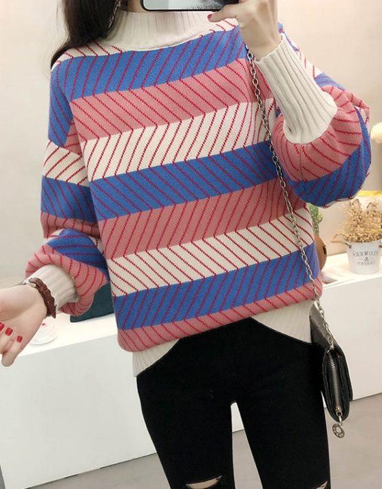 AL1843 : Áo len sọc 3 màu cổ cao